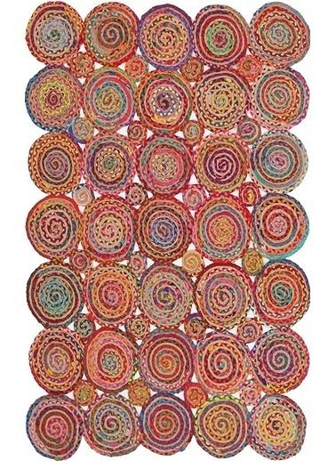 MarkaEv Flatweave Jüt El Halısı Renkli